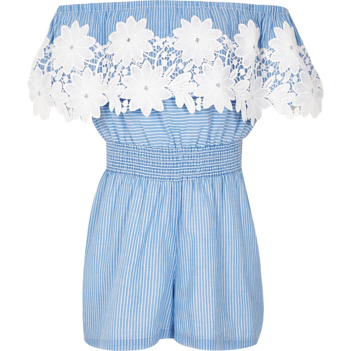 Girls blue stripe lace bardot romper