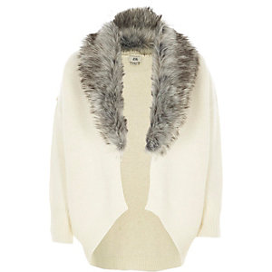 Girls cream faux fur trim cardigan