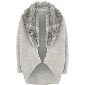 Girls grey faux fur trim cardigan