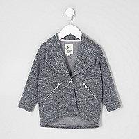Mini girls grey herringbone jacket