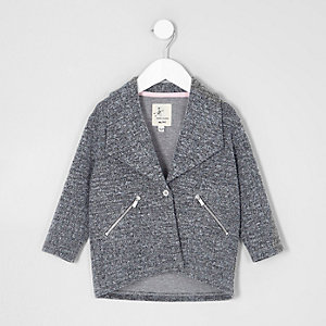Mini girls grey herringbone jacket