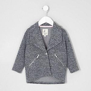 Veste grise texturée à chevrons mini fille