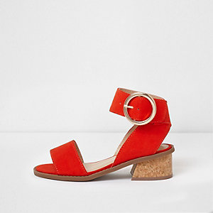 Girls red circle buckle block heel sandals