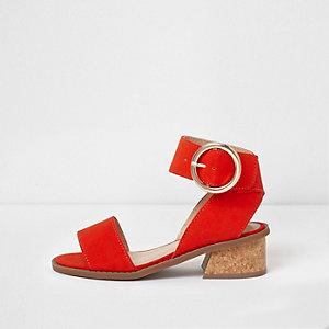 Sandales à talon évasé rouges pour fille
