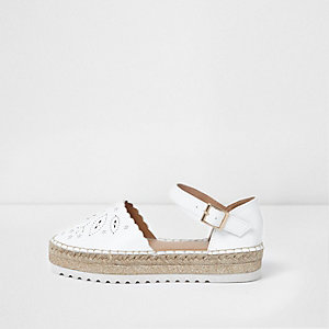 Girls white laser cut espadrille sandals