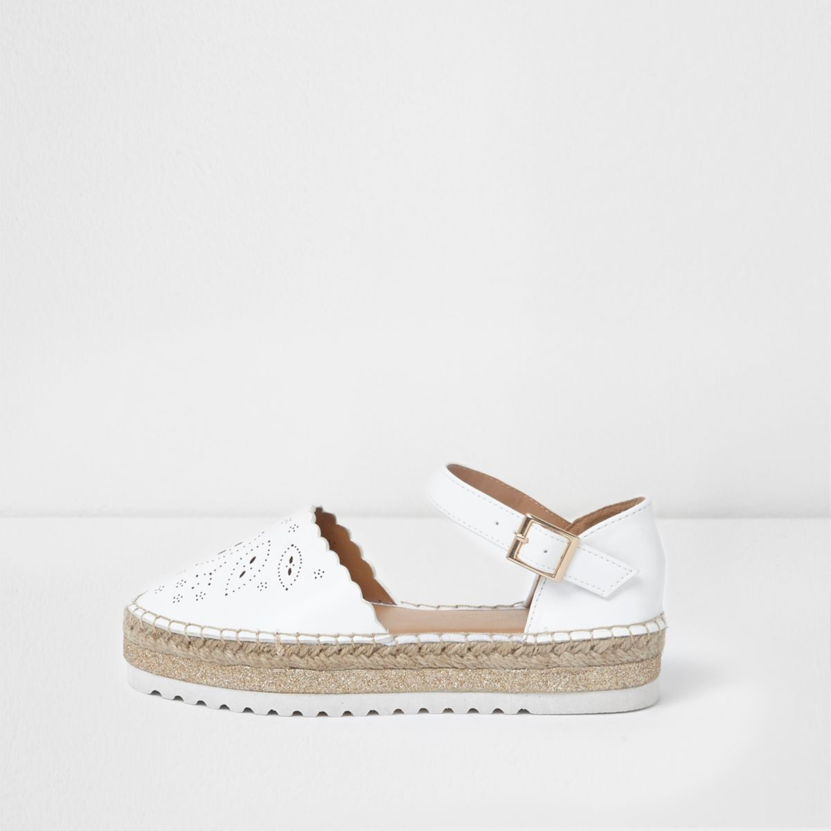 Girls white laser cut espadrille sandals