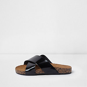 Girls black patent cork sole sliders