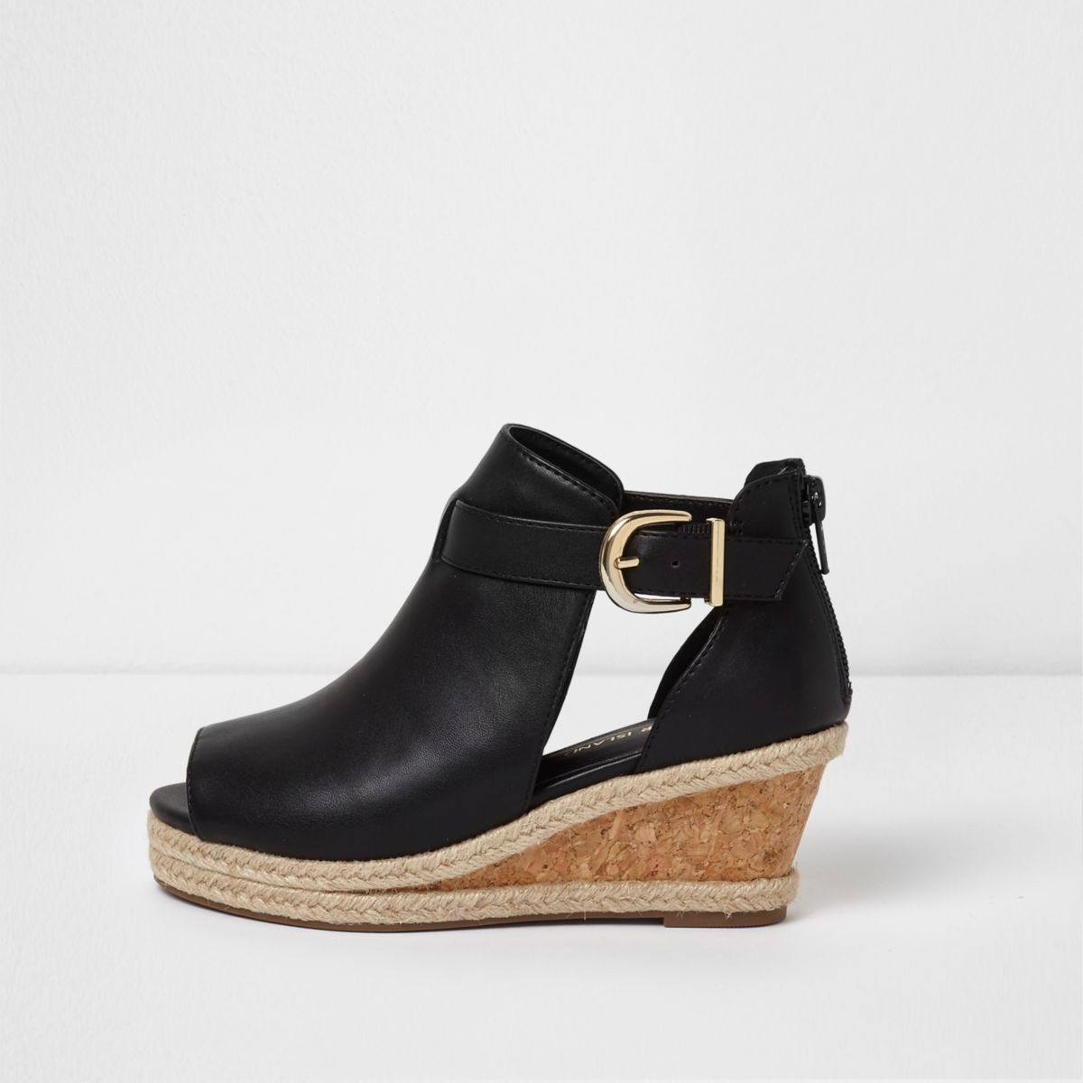 Girls black espadrille wedge shoe boots