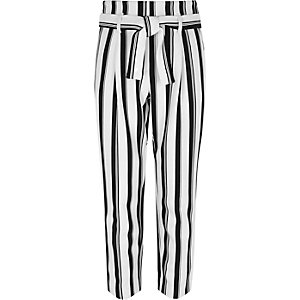 Girls white stripe print belted pants