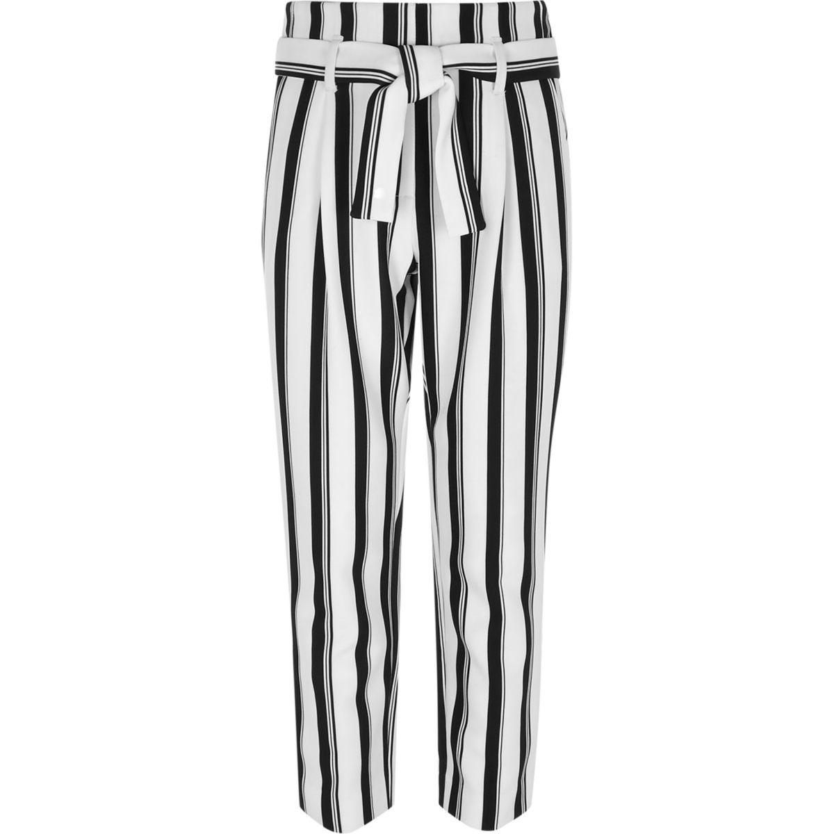 Pantalon à ceinture blanche rayée pour fille