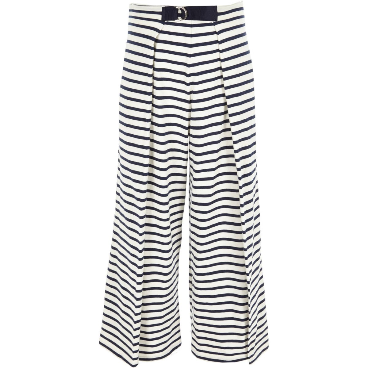 Girls white and navy stripe jersey culottes