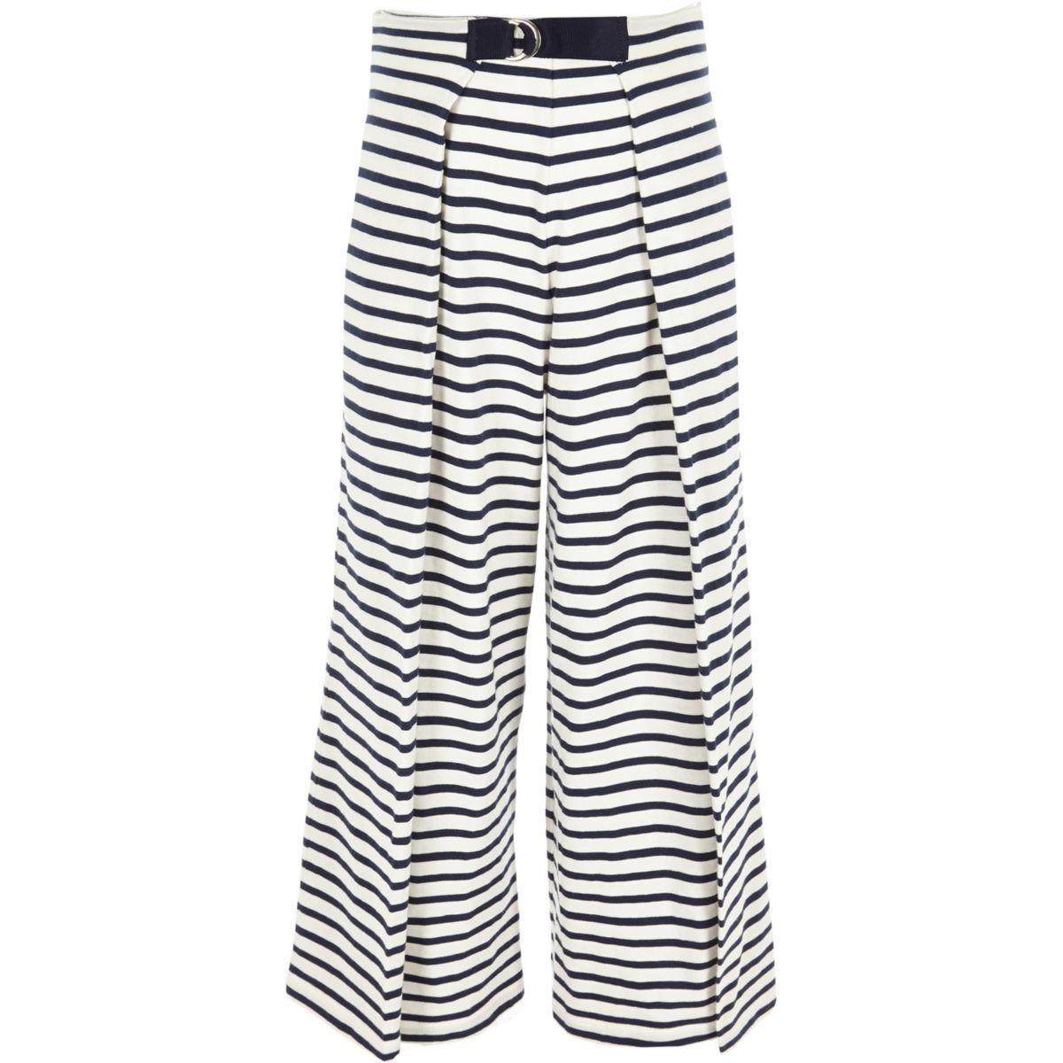 Jupe-culotte en jersey rayé blanc et bleu marine pour fille