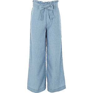 Girls light blue wide leg denim pants