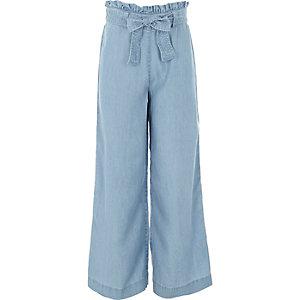 Lichtblauwe denim broek met wijde pijpen voor meisjes