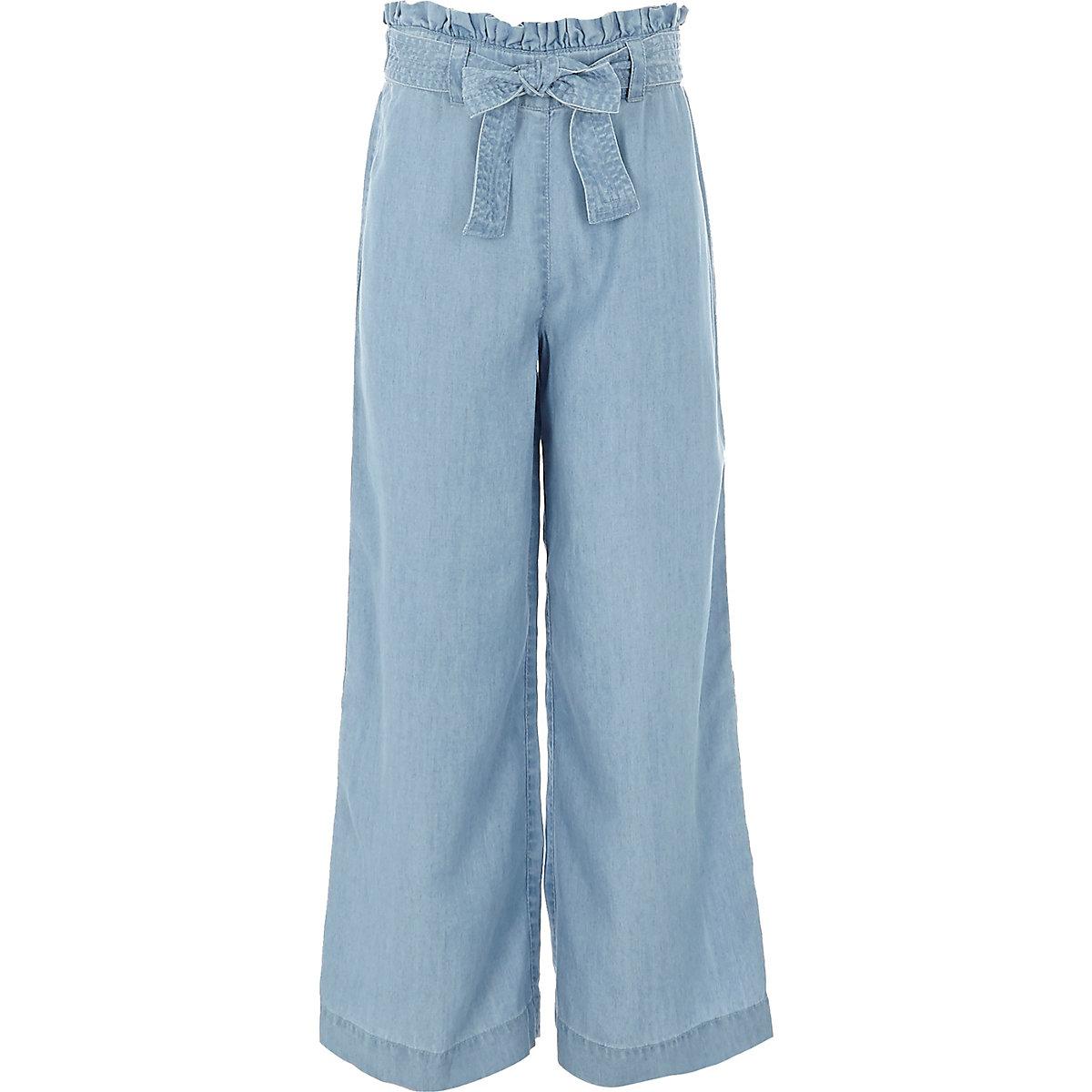 Girls light blue wide leg denim trousers