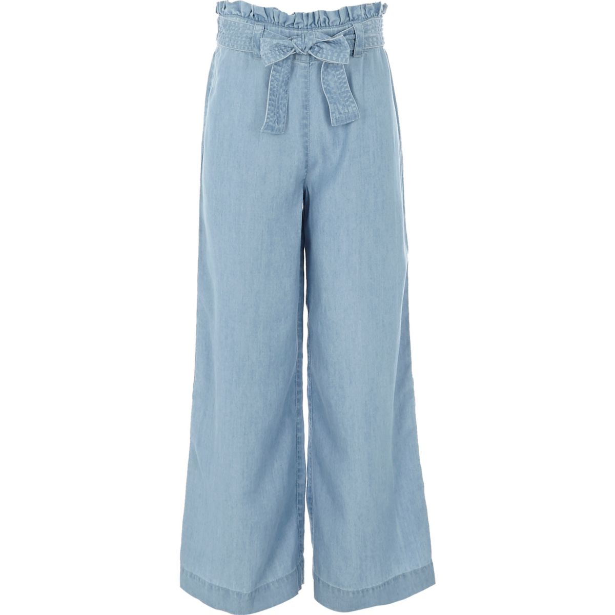 Girls light blue wide leg denim trousers
