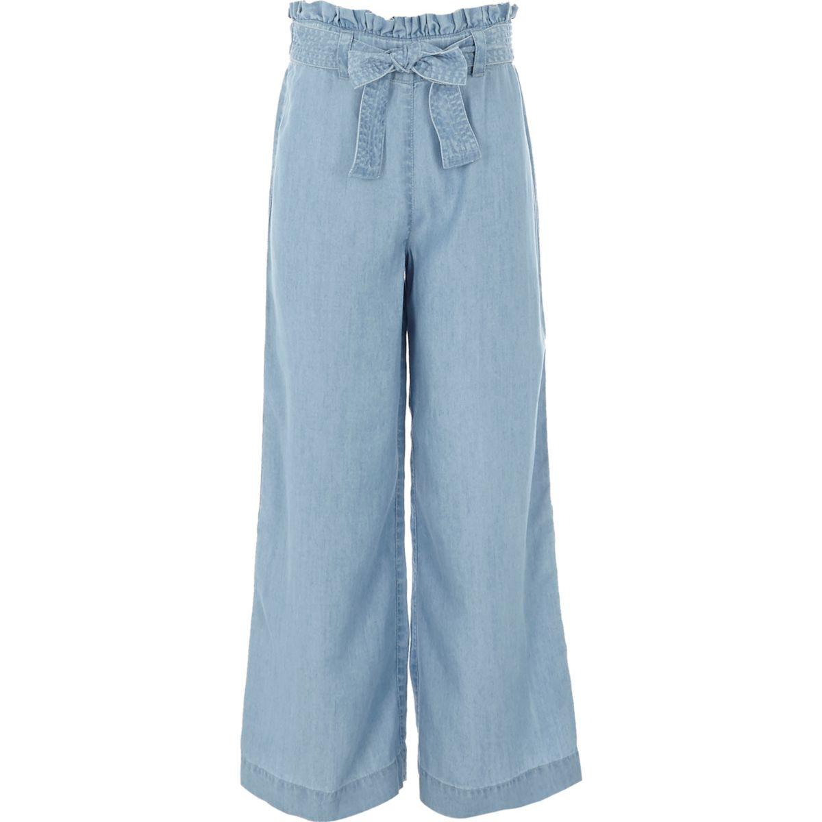 Girls light blue wide leg denim pants