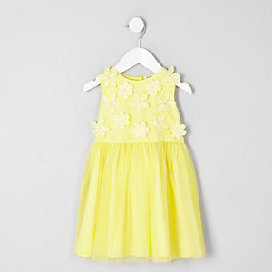 Mini girls yellow 3D flower prom dress