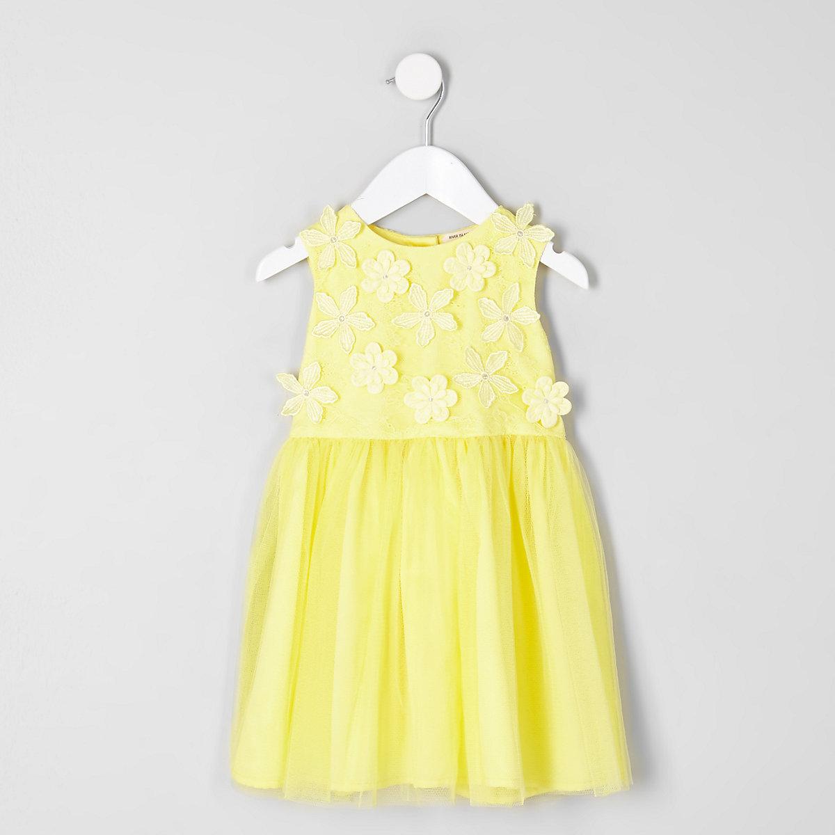 Mini girls yellow 3D flower prom dress