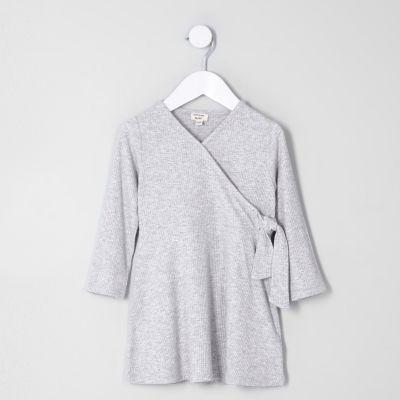 River Island Robe portefeuille côtelée grise mini fille