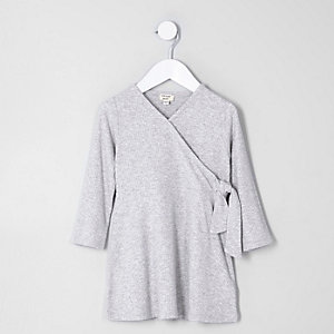Mini girls grey rib wrap dress