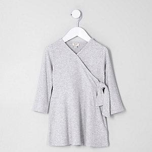 Robe portefeuille côtelée grise mini fille