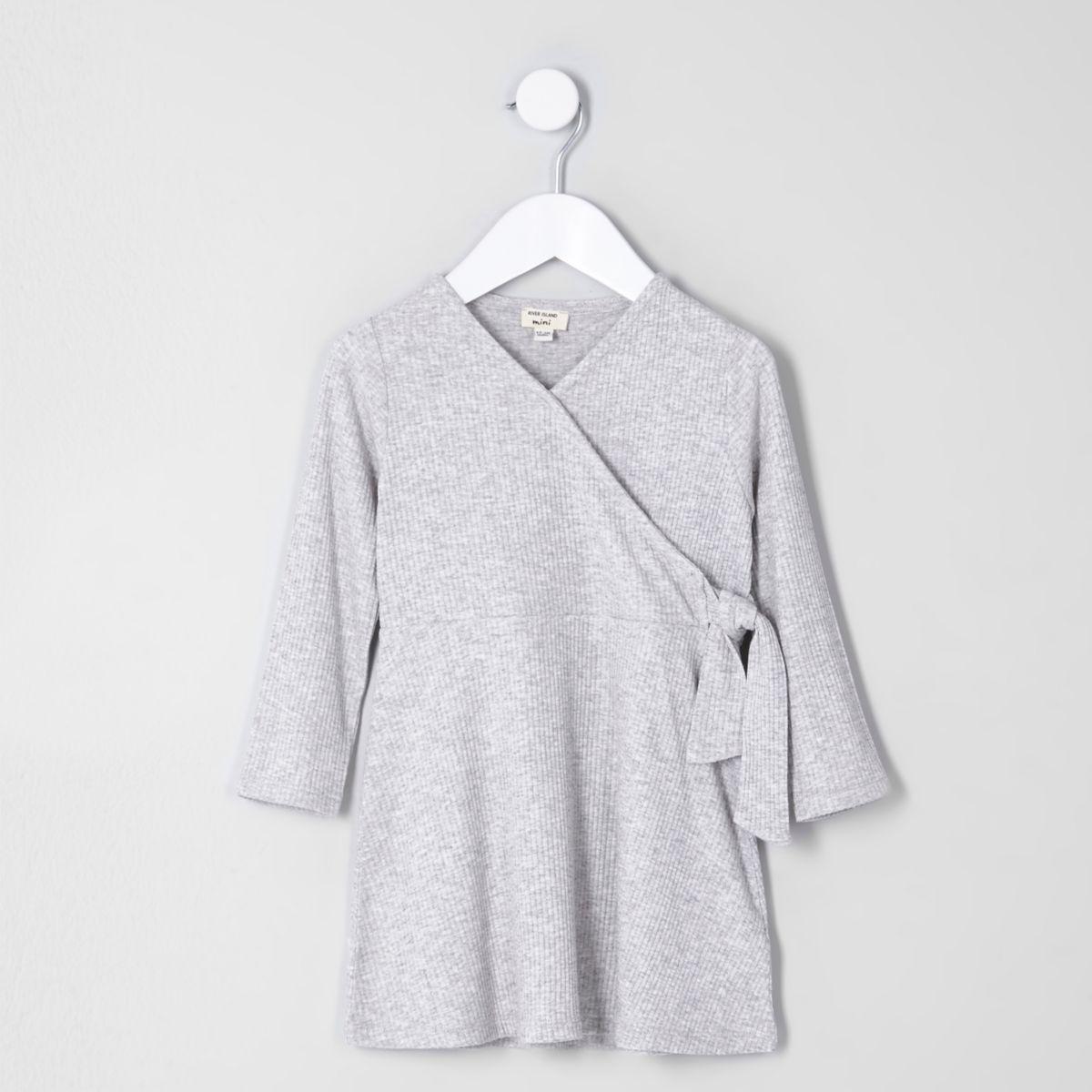 Mini girls grey rib wrap dress