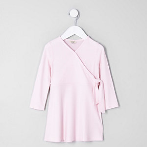 Mini girls pink rib wrap dress