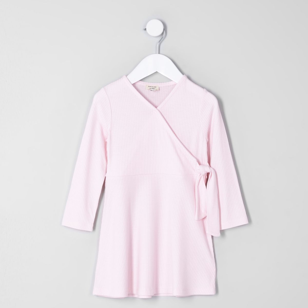 Mini girls pink rib wrap dress