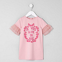 Mini girls pink 'je vois' mesh sleeve dress