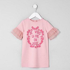 """Mini – Rosa T-Shirt mit Mesh-Ärmeln und """"Je Vois""""-Aufdruck, für Mädchen"""