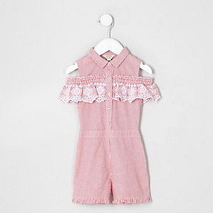 Combi-short rayé rouge à broderies et volants mini fille