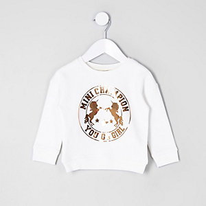 Mini girls cream gold unicorn sweatshirt