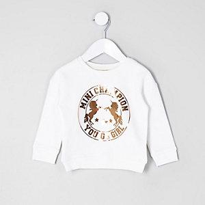 Mini - Crème sweatshirt met goudkleurige eenhoornprint voor meisjes