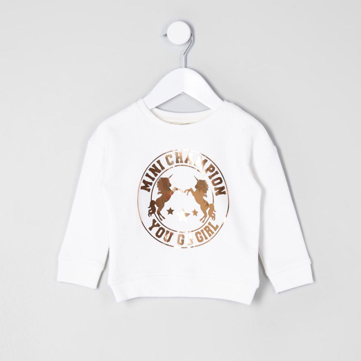 Mini girls cream gold unicorn sweatshirt