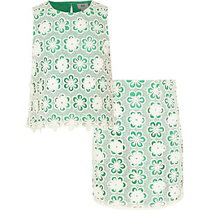 Girls green lace shell top and skirt outfit