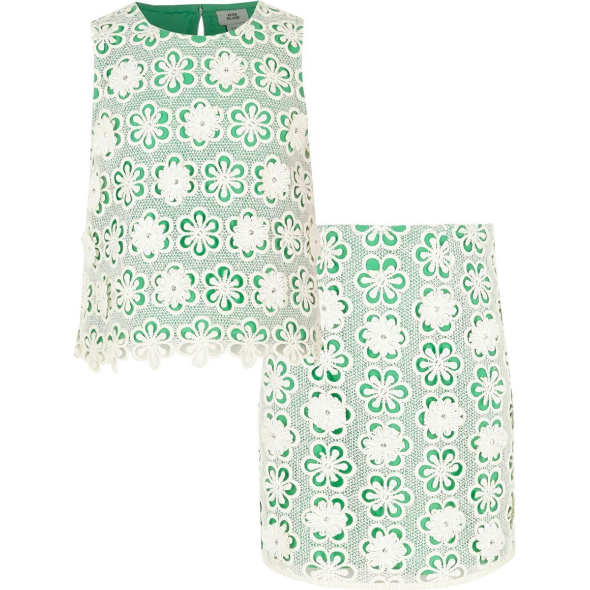 Ensemble top et jupe verts avec superposition en dentelle pour fille