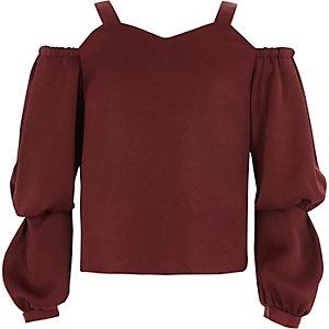 Girls dark red cold shoulder puff sleeve top
