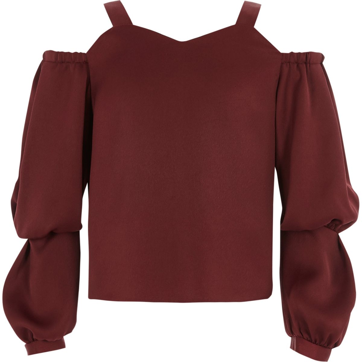 Girls dark red cold shoulder puff sleeve top