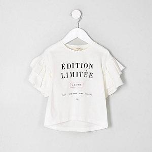 Mini - Wit T-shirt met 'edition limitee'-print voor meisjes