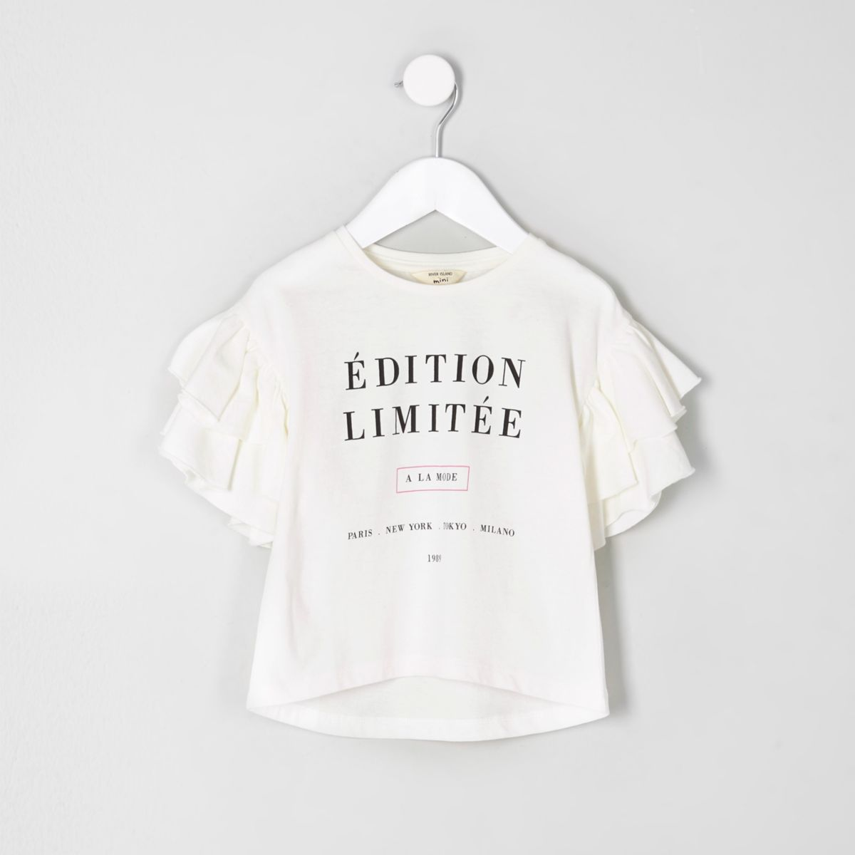 Mini girls white 'edition limitee' T-shirt