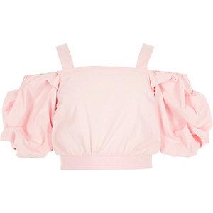 Roze schouderloze crop top voor meisjes