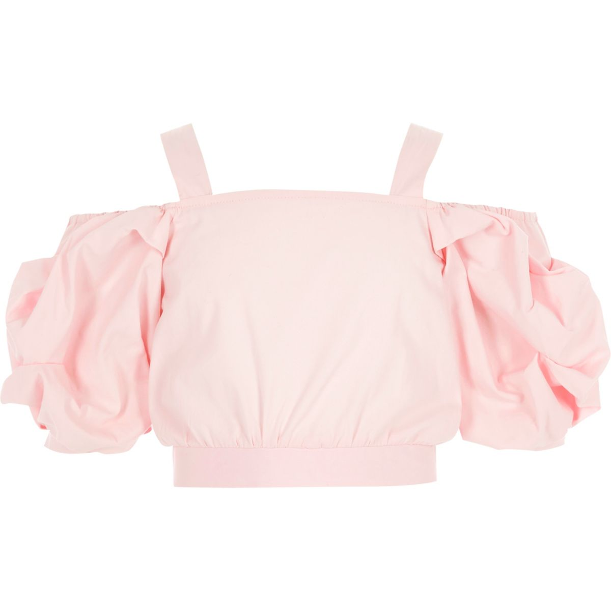 Girls pink cold shoulder crop top