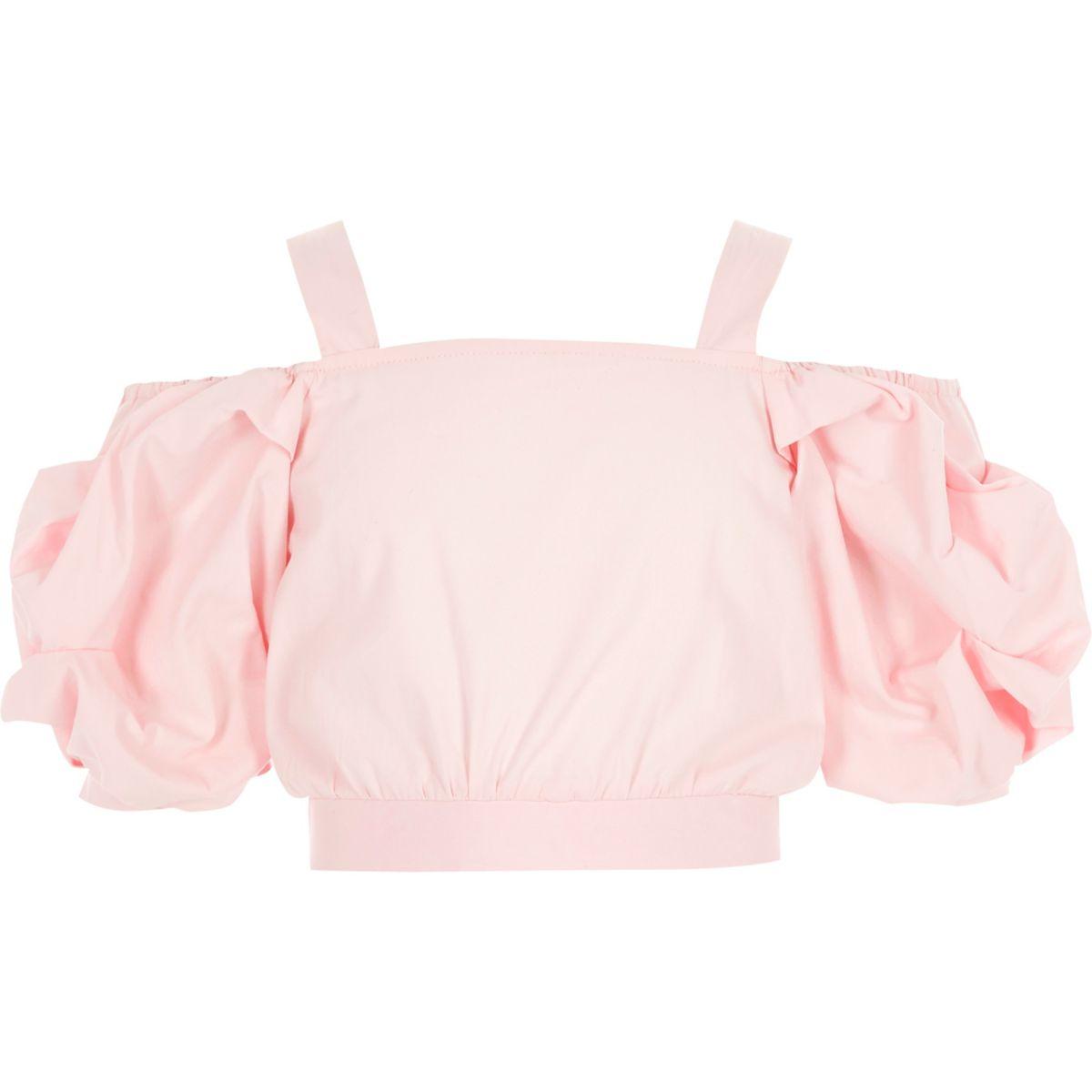 Girls pink cold shoulder crop top