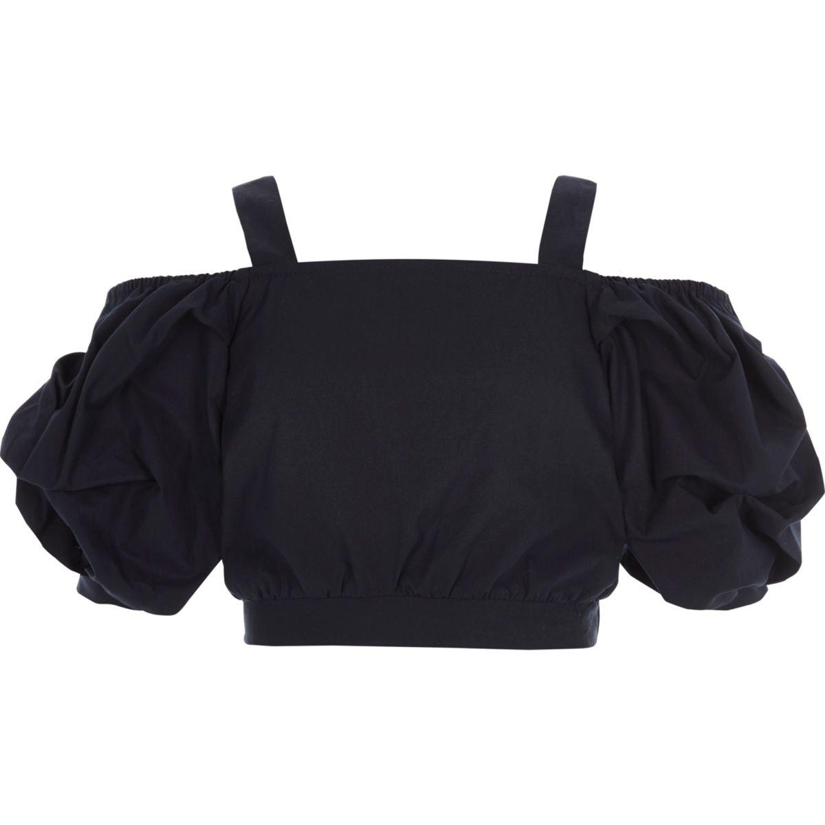 Girls navy puff sleeve bardot crop top
