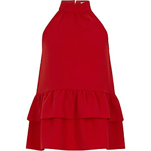 Girls red halter neck frill hem top