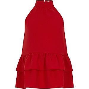 Top rouge dos nu avec ourlet à volants pour fille