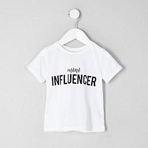Mini girls white 'mini influencer' T-shirt