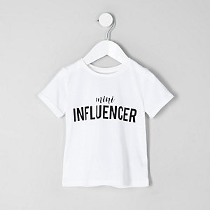 Mini - Wit T-shirt met 'Mini influencer'-print voor meisjes