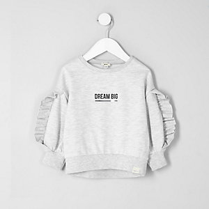 Mini girls grey ruffle sleeve sweatshirt
